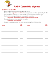 Open Mic Signup Form